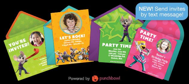 event invitations chuck e cheese