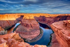Horseshoe bend on the Colrado River at sunrise near Page, Arizona, USA - Chuck Haney Photography