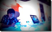 My son, Ralph, checking out the cool gadgets...