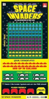 Oregon Lottery Space Invaders Scrach-It