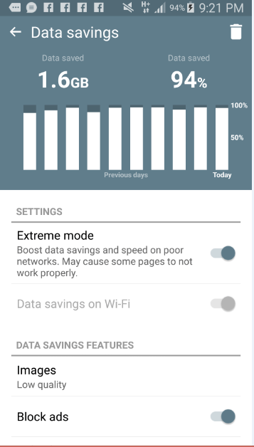 cheap internet - data savings with Opera Mini