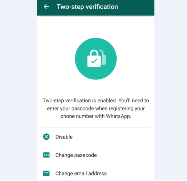 enable WhatsApp Two-step verification