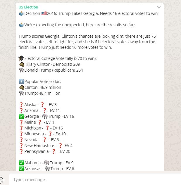 US Election on WhatsApp Trump wins