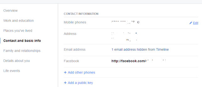edit phone number privacy Facebook