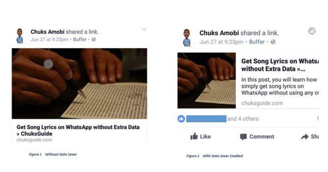 FAcebook data saver vs non data saver