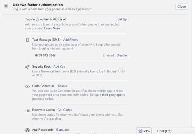 Use Facebook two-factor authentication