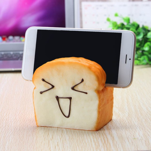 Squishy Slice Toast  Mobile Phone Seat Holder