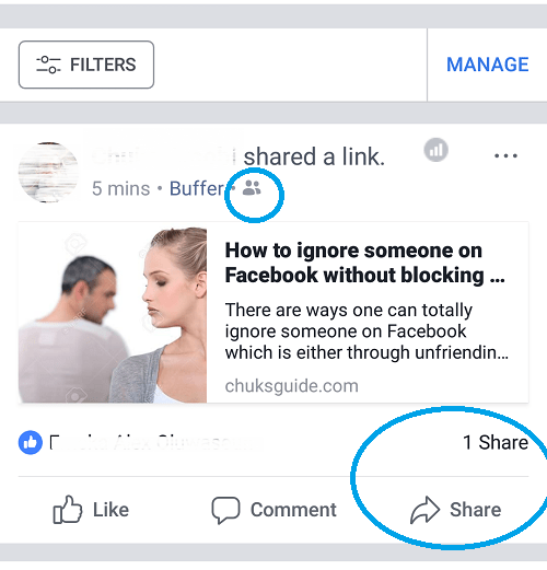Facebook Share button showing