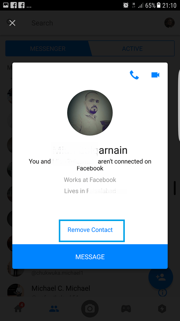 delete Messenger contact