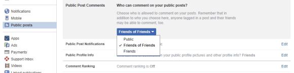 Facebook public comments