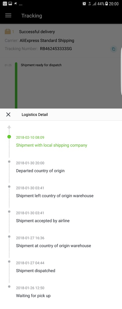 AliExpress Order Tracking and logistics detail