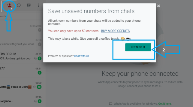 Save unknown whatsapp number