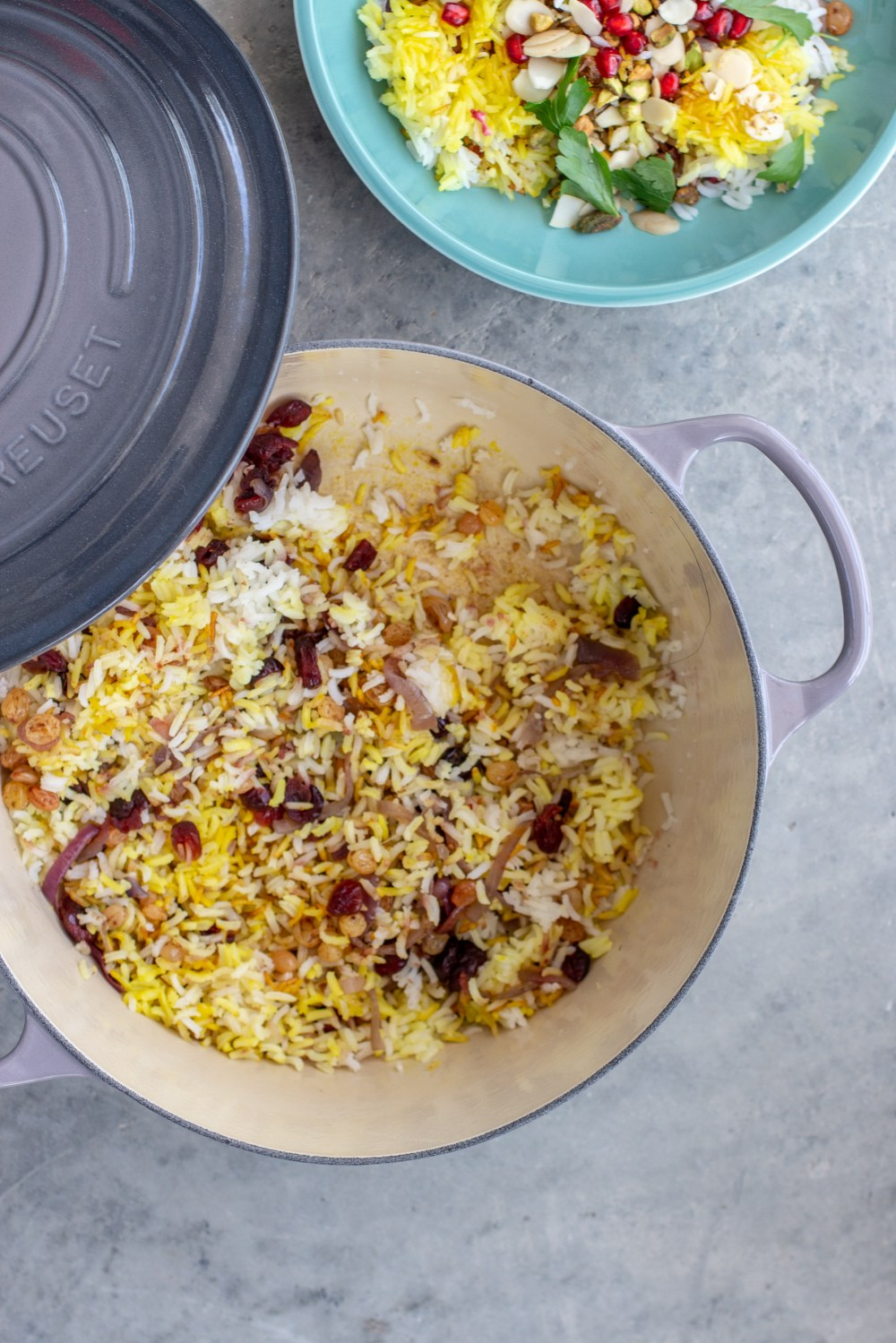 Jewelled Saffron Rice made in Oyster Le Creuset French Oven