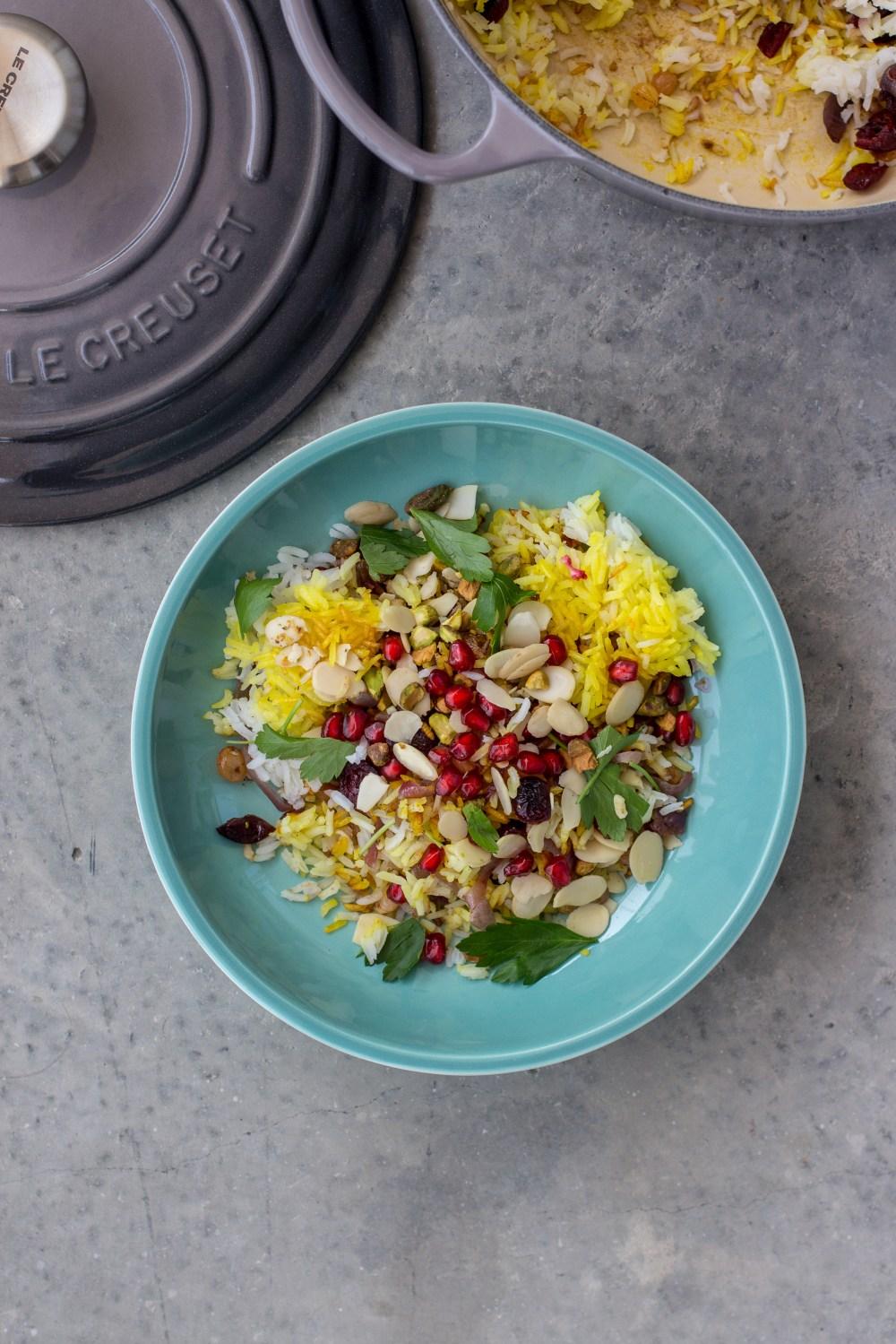 Jewelled Saffron Rice in Sage Le Creuset Coupe Pasta Bowl