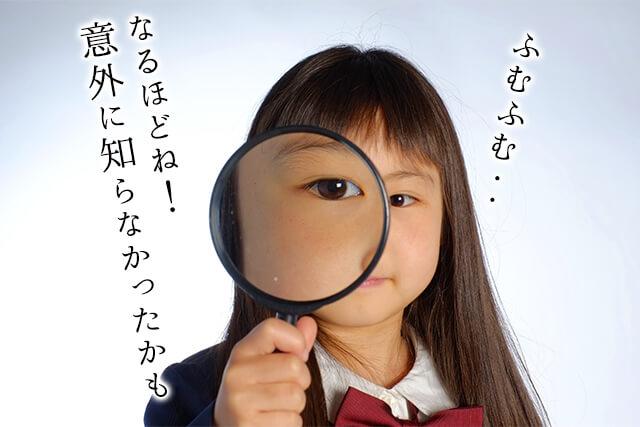 虫眼鏡をのぞきこむ女の子