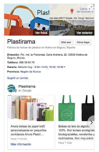 Ficha de empresa en My Business con dos Google Posts