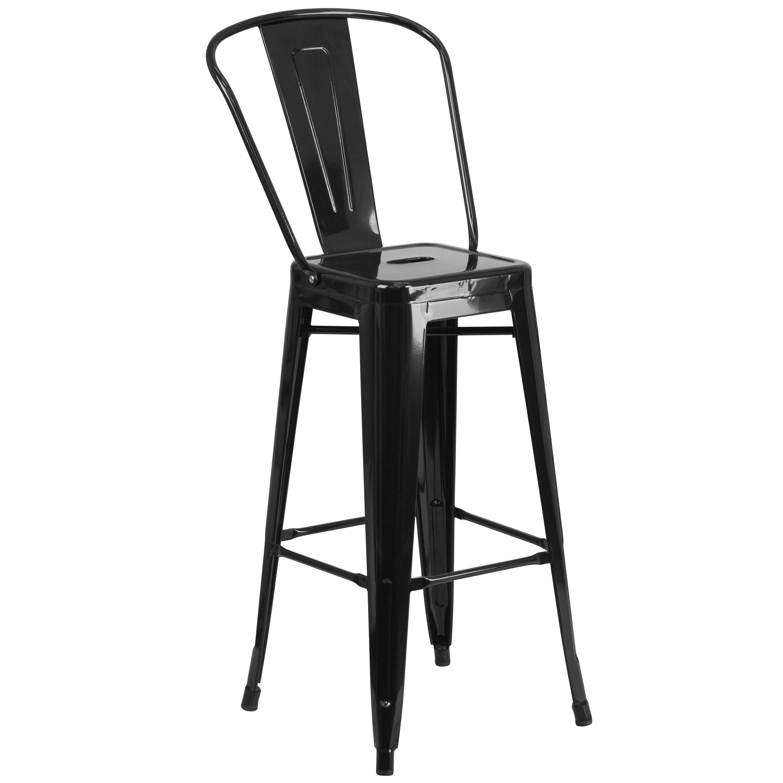 30 Black Metal Outdoor Stool Ch 31320 30gb Bk Gg Churchchairs4less Com