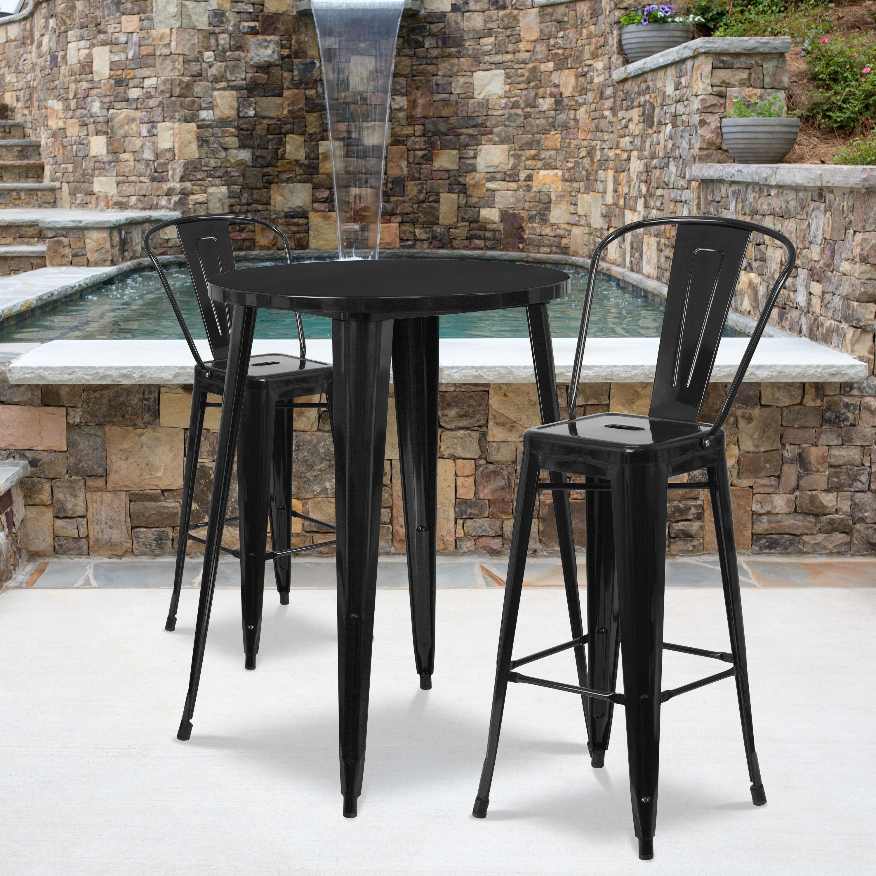 commercial grade 30 round black metal indoor outdoor bar table set with 2 cafe stools