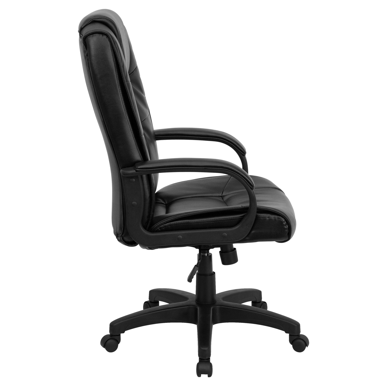 jcpenney desk chair high heel storage black back leather go 5301b bk lea gg