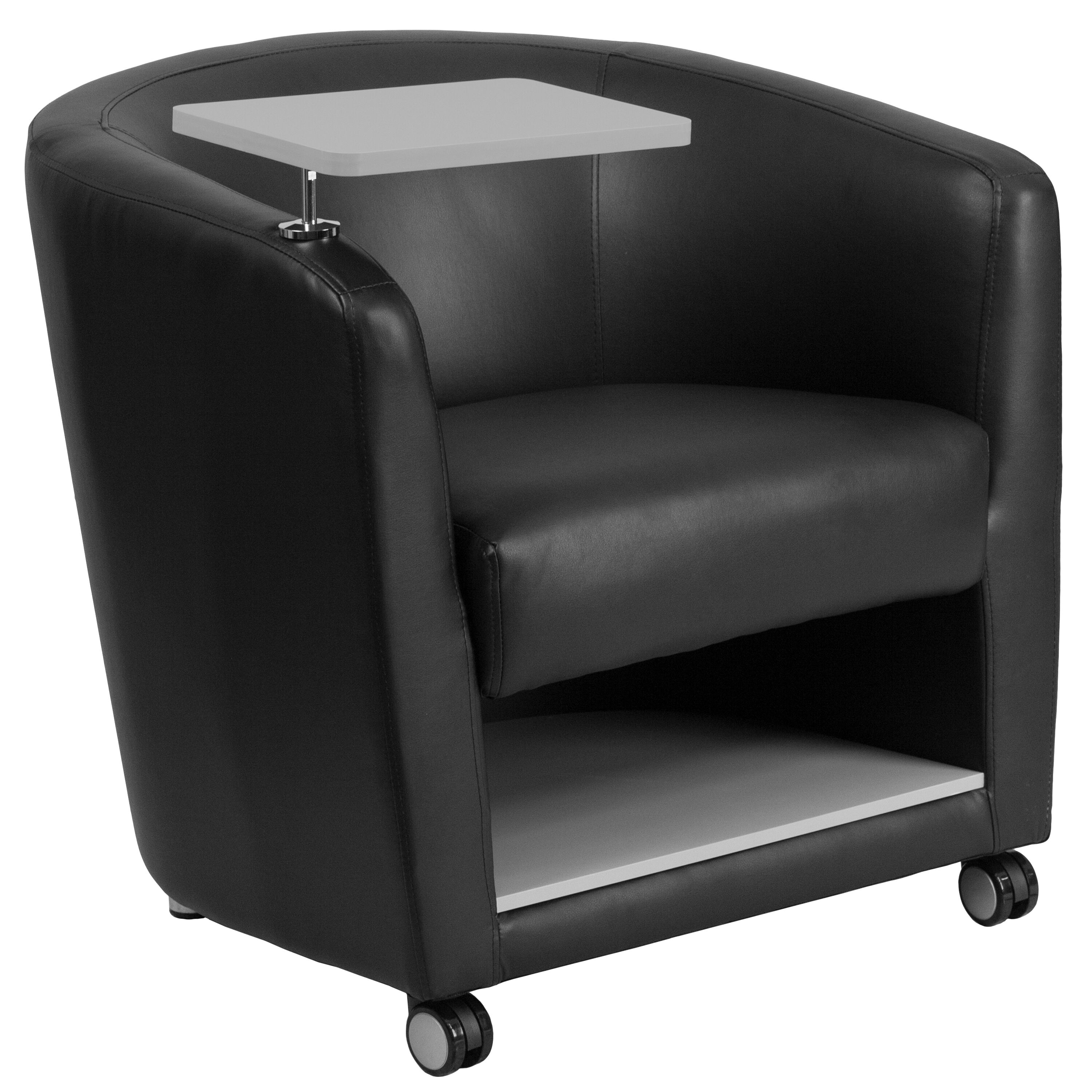 stool under chair bedroom relaxing flash furniture black leather guest with tablet arm