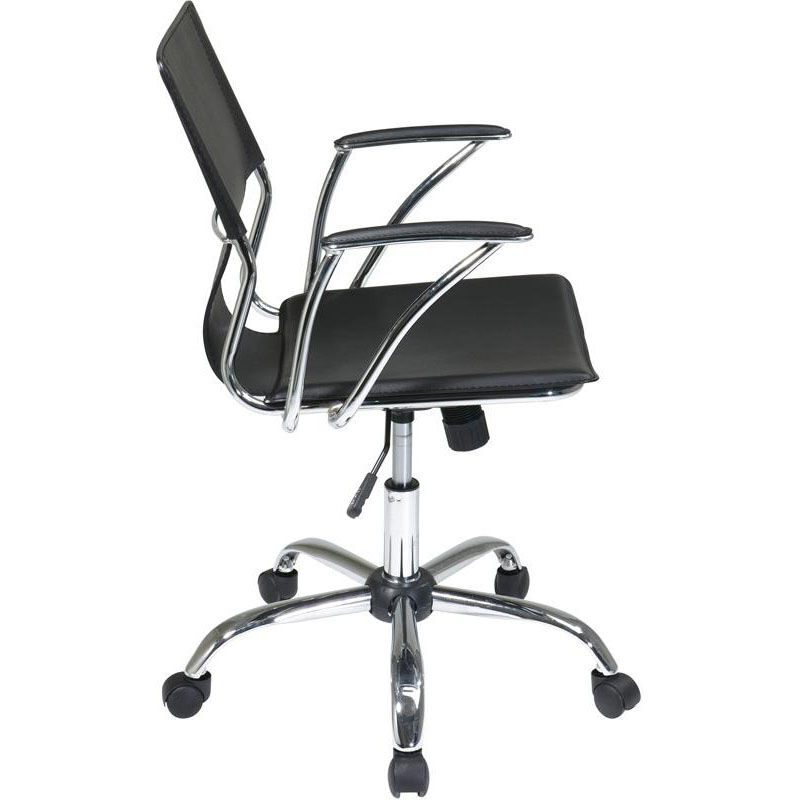 dorado office chair dinette table and chairs ave six contour seat dor26 bk churchchairs4less com our back vinyl with heavy duty chrome base