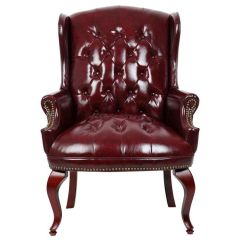 Oxblood Leather Wing Chair Ball Base Only Boss Office Products Traditional Button Tufted Back