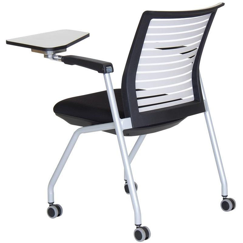 white multi purpose salon chair molded plastic outdoor chairs ace nesting with left handed writing