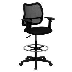 Drafting Chairs With Arms Vladimir Kagan Nautilus Chair Black Mesh Draft W Wl A277 Bk Ad Gg Churchchairs4less Com
