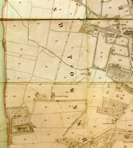 A small section of the 1844 map reproduced by Alan Morgan in his book which shows Friday Farm just to the left of Burdon Place.