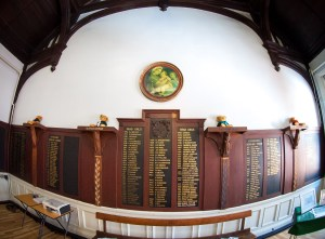 Hall Honours Boards (North and South end) and The Four Virtues House Plinths.