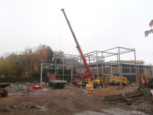 My first unobstructed view of the steel structure with the Sports Hall visible behind.