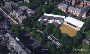 Google Earth aerial views of Church High's Tankerville Terrace site showing, from left to right, the Victorian Senior School building with its 1984 & 1999 extensions, the 1975 Junior School buildings and the Sports Hall added in 2002