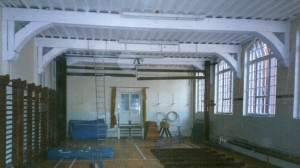 The Old Gymnasium at the time of its dismantling in 1997 to make way fro the LRC.