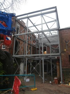 The steel frame of the new extension to the old build is now complete.