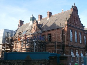 Scaffolding being erected alongside the Science Block.