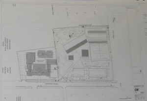 The architect's site plan in close-up.