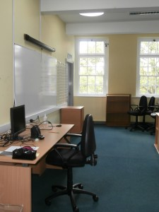 IT Suite teaching area with connecting door.