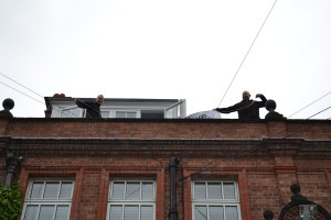 Vince and Craig 'up on the roof' on Year 11 Leavers' Day, May 2014.