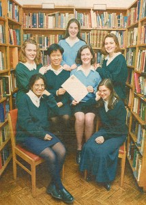 Prizegiving photo shoot in the Library, 1992.