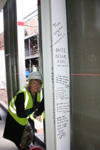 I was honoured to be asked by the architect to write on the beam too.