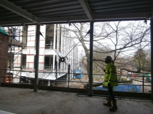 The new glass-fronted first floor classroom in the modern extension.