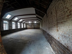 Church High's first extension space stripped back to the brick in November and now being divided into two new Graphic Art Rooms.