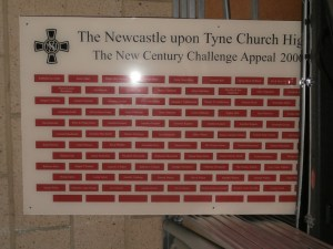 New Century Challenge donor bricks plaque.