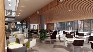 Artist's impression of the same view of the Dining Area facing south-east.