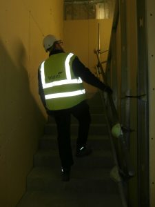 Conal approaching the First Floor via the new north staircase.