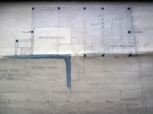 The unfinished plan shows the caretaker's cottage bottom right.