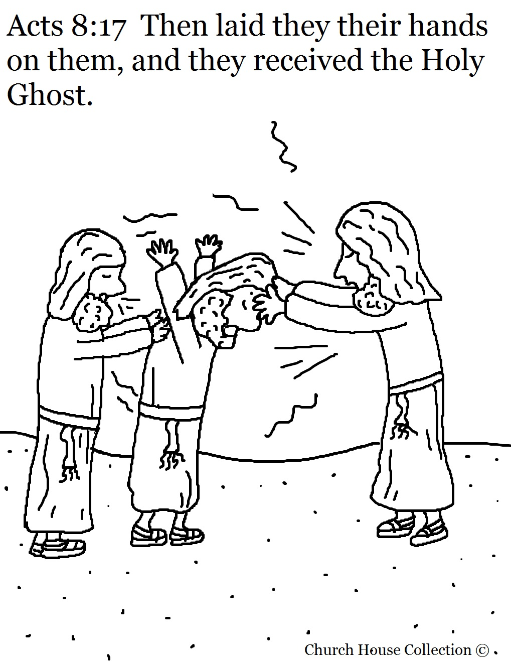 Acts 8:17 Getting Holy Ghost Coloring Page