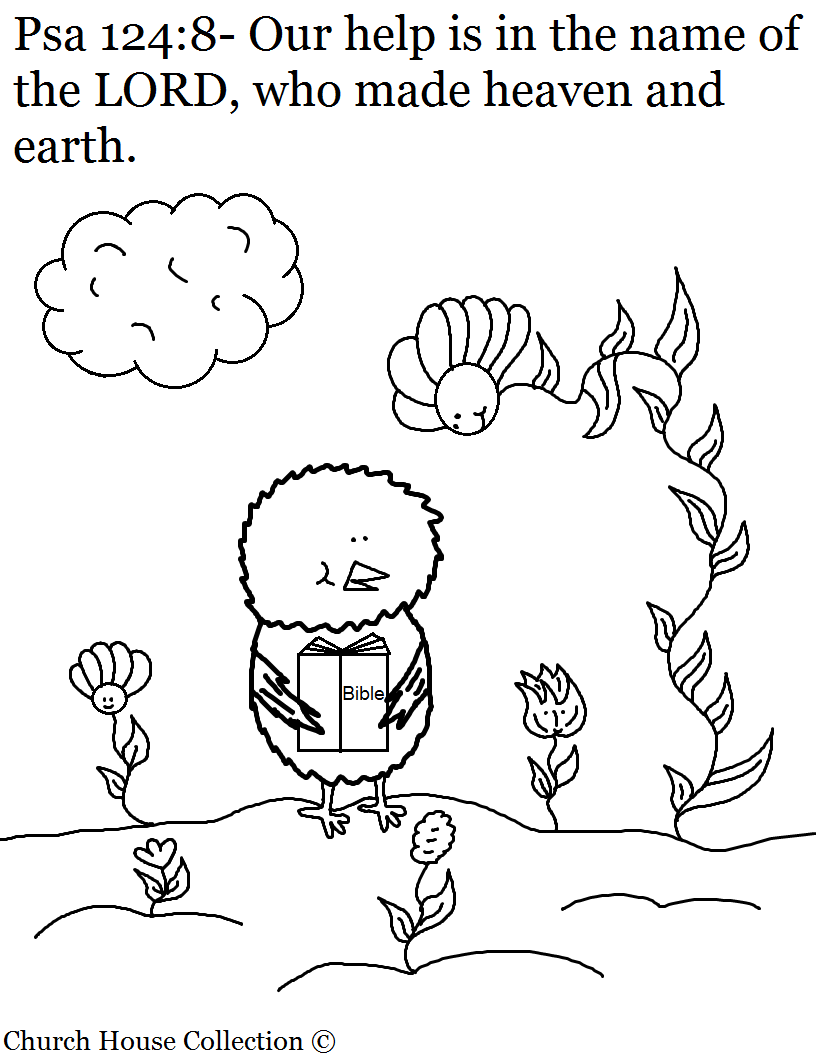 Psalms 124:8 Chick Coloring Page