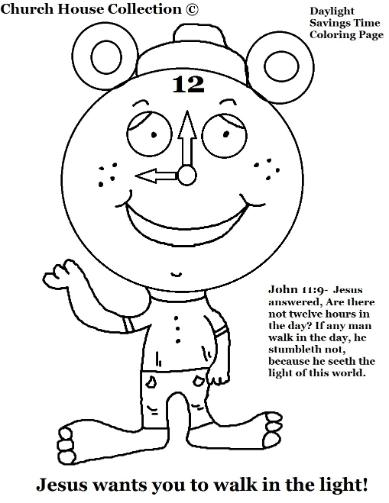 Daylight Savings Time Coloring Page