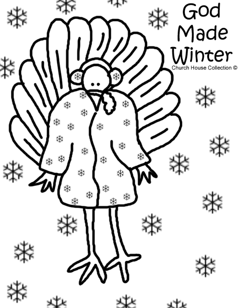 God Made Winter Turkey Coloring Page